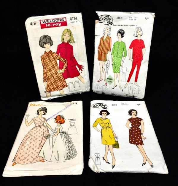 Vintage 1950's Le Roy Dress Makers Pattens / Patten Designs / Set of 4